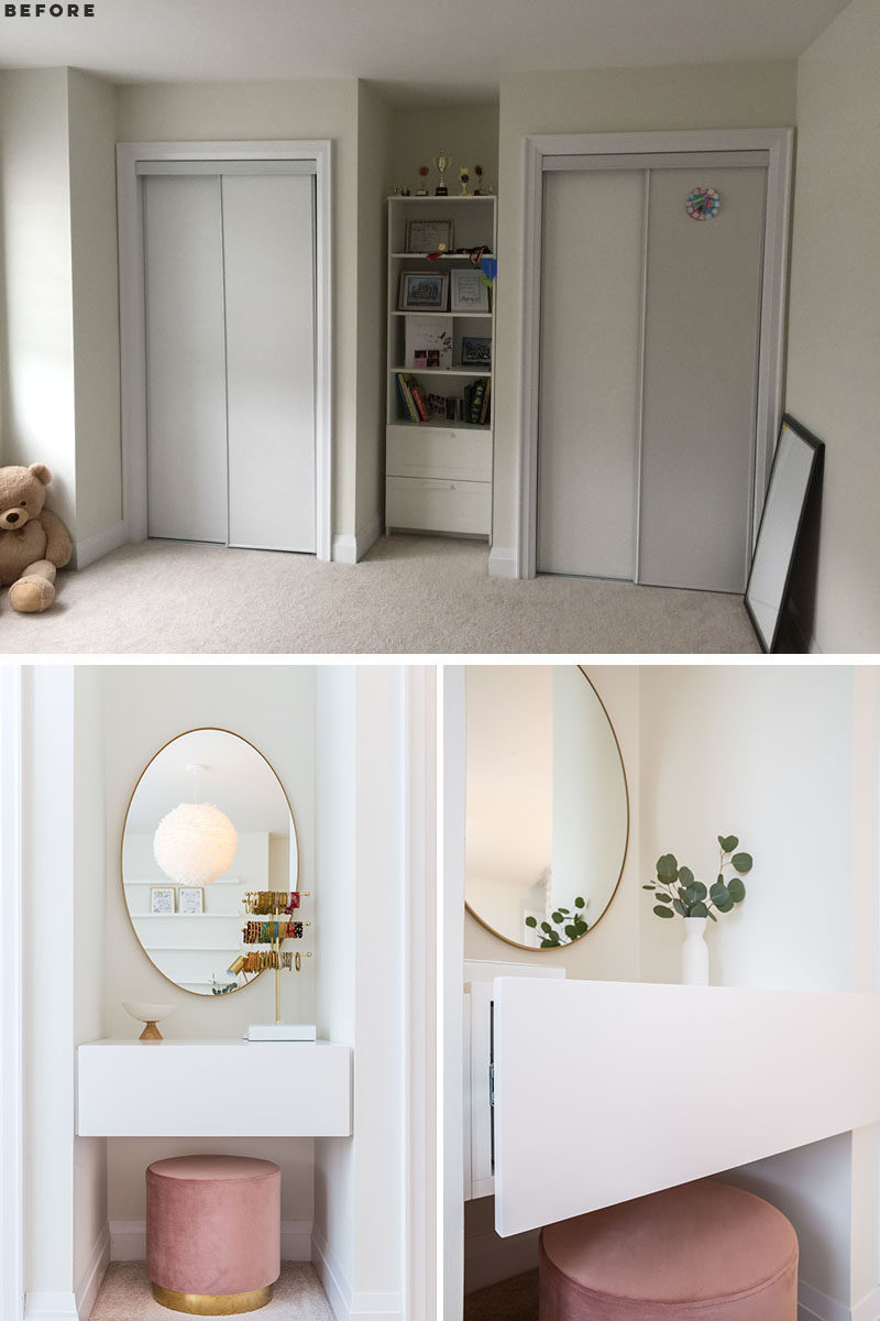 BEFORE & AFTER - GIRL'S BEDROOM - Whitewash walls and clean lines enhance the feeling of spaciousness in this light-filled bedroom, with a millennial pink stool providing the perfect finishing touch to the vanity area. #ModernBedroom #Vanity #InteriorDesign