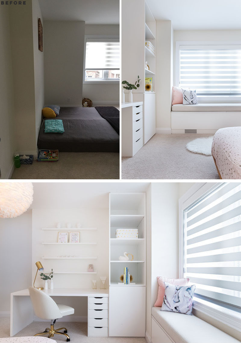 BEFORE AND AFTER - A desk and bookshelf have been added to this modern girl's bedroom, while below the window is a built-in bench with hidden storage and a light pink upholstered cushion.  #KidsBedroom #BedroomDesign #ModernKidsBedroom