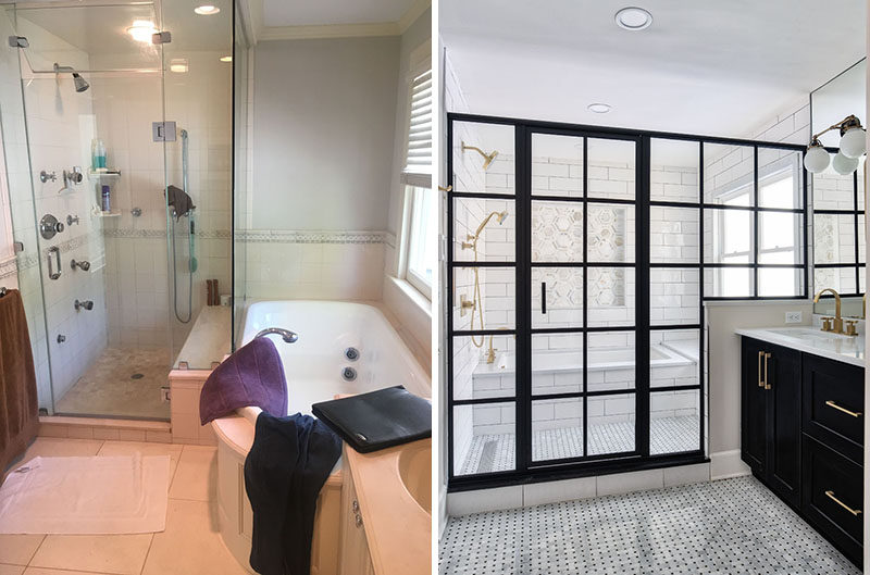 BEFORE AND AFTER BATHROOM RENOVATION - A dated bathroom was given a bright and modern update with a wet room and double vanity. #BathroomRenovation #ModernBathroom #BathroomDesign