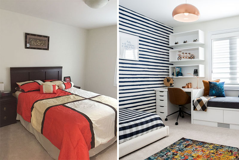BEFORE & AFTER - RZ Interiors have designed a pair of contemporary children's bedrooms in a light-filled home in Toronto, Canada. #KidsBedroom #ChildrensBedroom #InteriorDesign