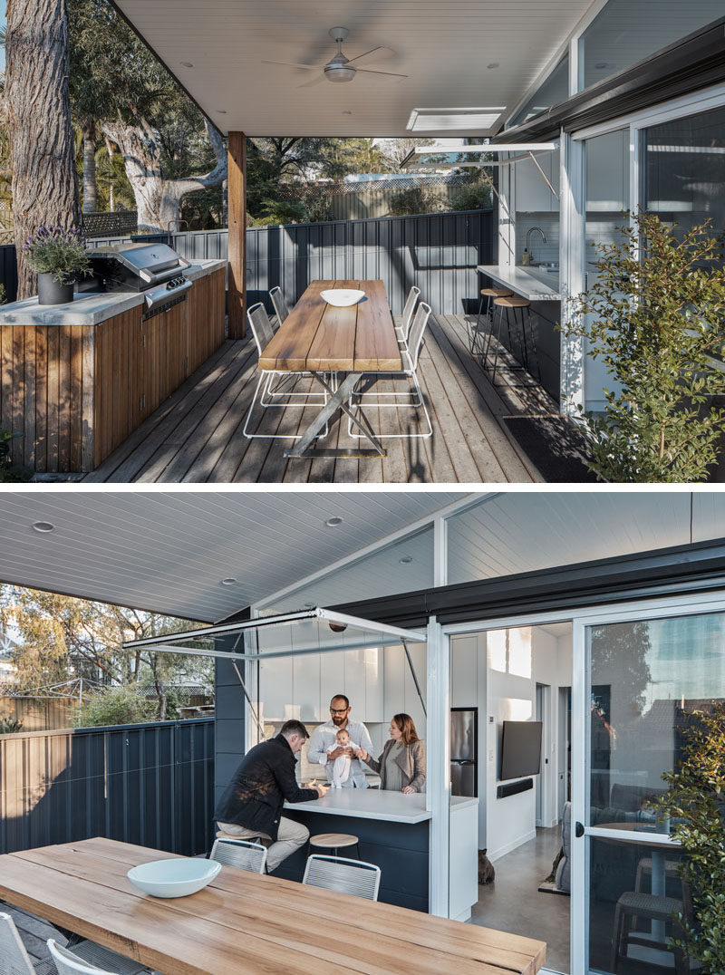 Before entering this small house, there's a covered outdoor dining/entertaining area, with a custom built bbq / outdoor kitchen, enough space for a dining table, and a bar area with a window that opens to the kitchen. #TinyLiving #SmallHouse #GrannyFlat #OutdoorDining #OutdoorKitchen