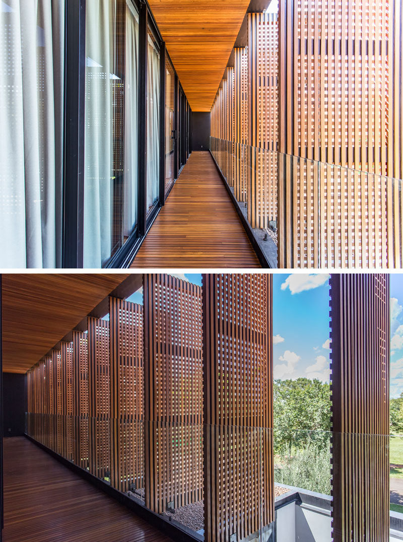 F: POLES architecture have designed the A.B Residence, a new and modern house that's located in Brazil, and features wood screens on its exterior. #WoodScreens #ModernArchitecture #ModernHouse