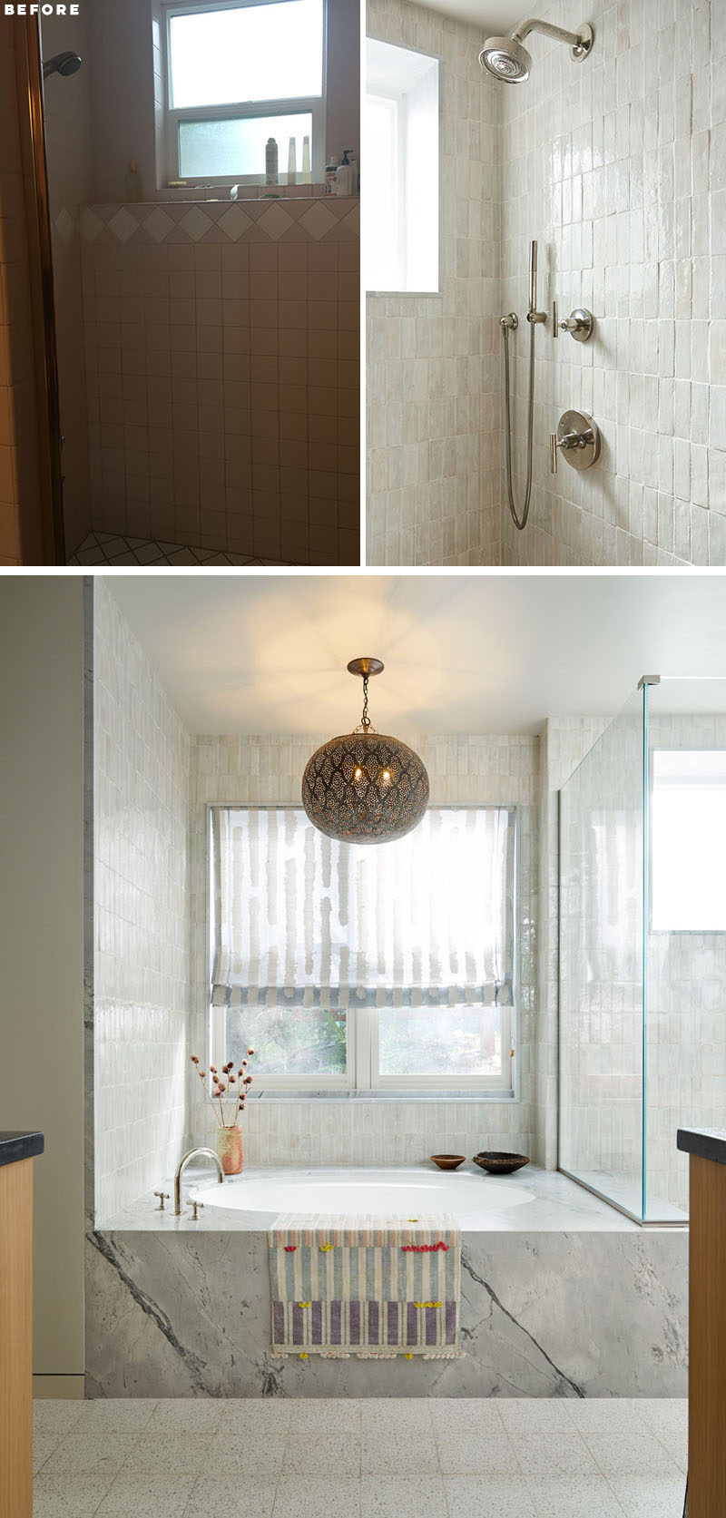 BEFORE & AFTER - Soft pink tiles in this bathroom were replaced with light textured tiles, while the soaking tub is now the focal point of the room. #BathroomRenovation #BathroomRemodel