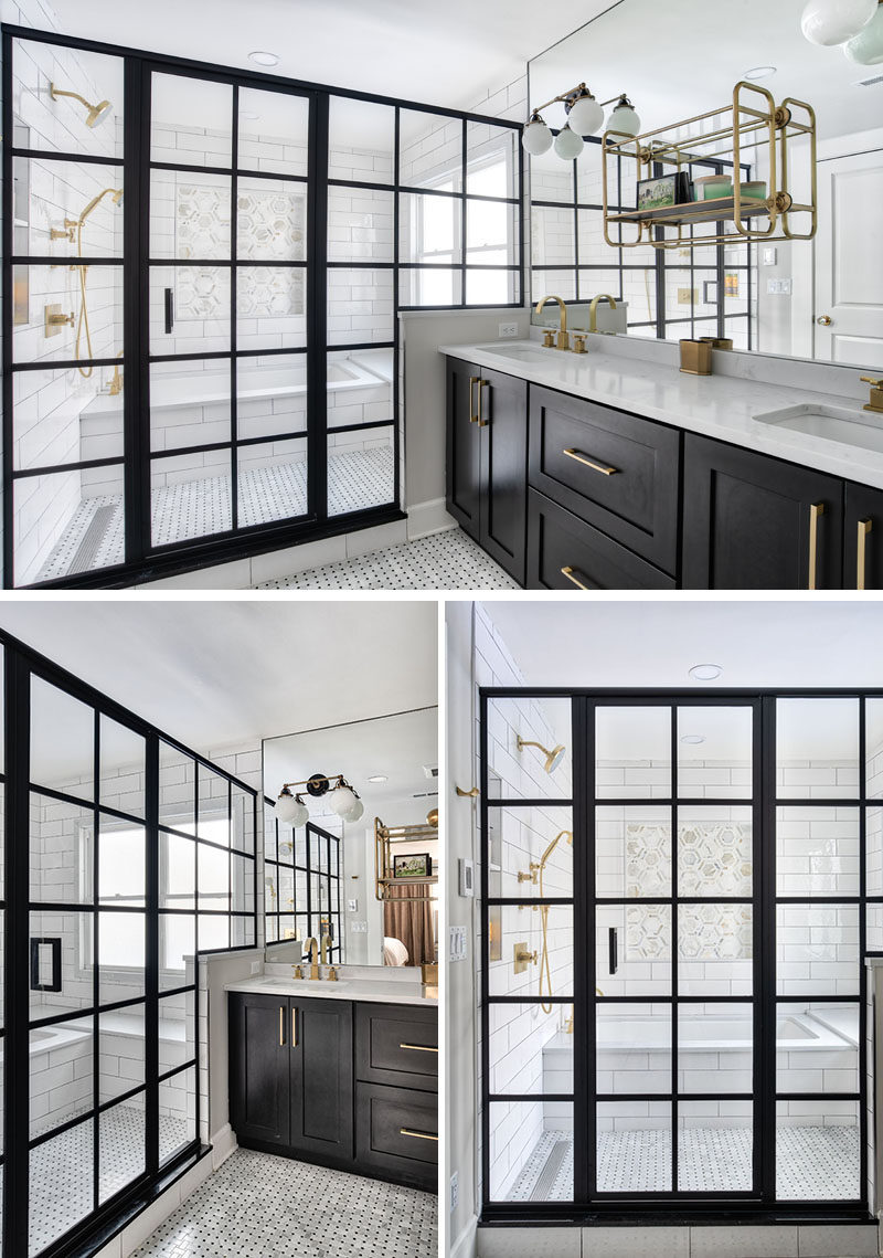 In this modern bathroom, the shower and bath have been placed within a wet room, and behind a steel-framed shower enclosure. #ModernBathroom #WetRoom #BathroomDesign