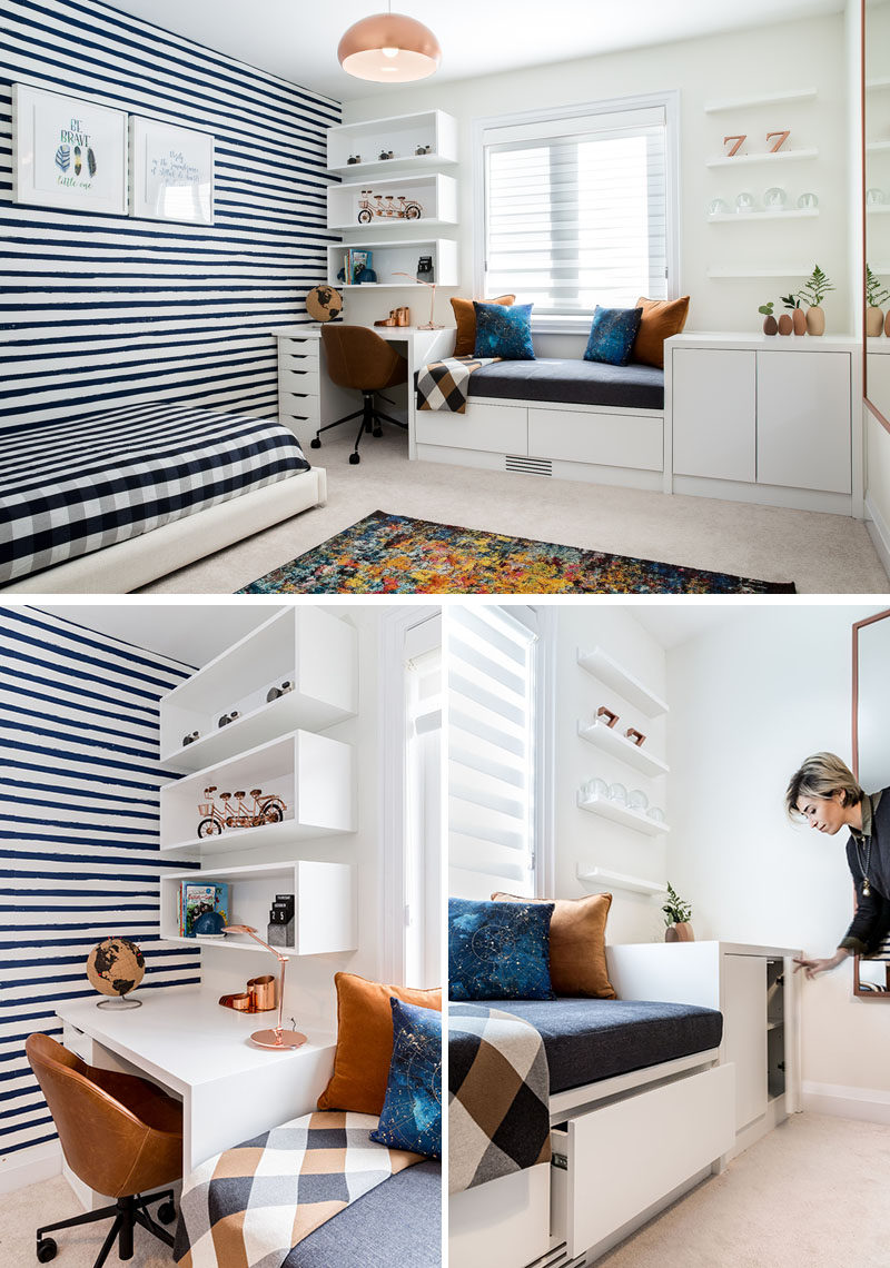 Custom millwork was created in this modern boy's bedroom to allow for a dedicated area for a desk, a window seat, and additional storage space, which provides drawers and cabinets for storing seasonal clothing. #BoysBedroom #KidsBedroom #BedroomDesign #InteriorDesign