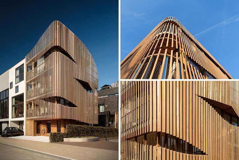 Amsterdam-based studio GG-loop has recently completed 'Freebooter', a new pre-fabricated building that houses two separate residences, and features a parametric louvered facade. #WoodFacade #WoodSlatFacade #ModernArchitecture