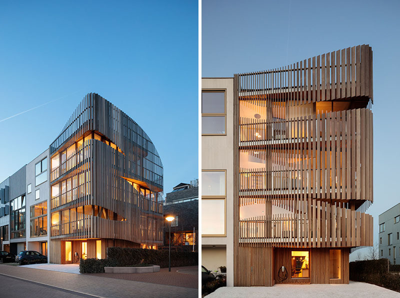 The designers'of this modern building studied the movement of the sun year-round to create the parametric shape and positioning of the building's louvers. #WoodSlatBuilding #ModernArchitecture #Louvers #WoodFacade