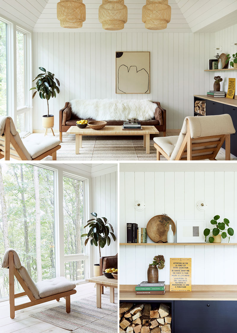 This modern cabin has a living room that's been decorated simplistically with natural tones and finishes. #LivingRoom #ModernCabin