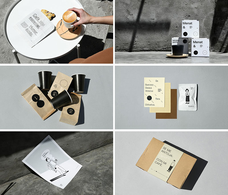 Minimalist packaging for a modern coffee shop keep the focus on the coffee and the food offerings. #Packaging #GraphicDesign