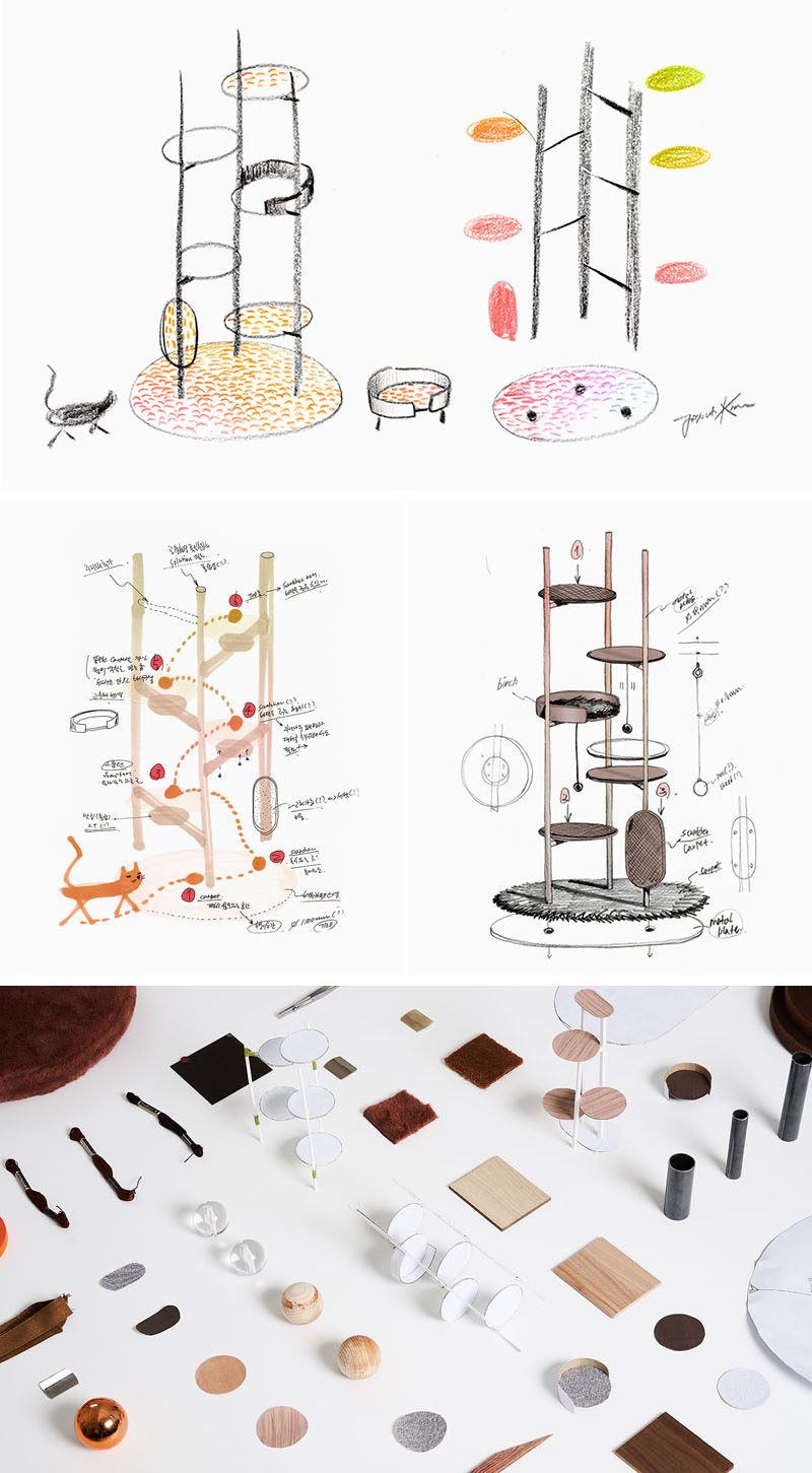 Jiyoun Kim Studio presents the 'Three Poles Collection', a modern cat tower that has multiple places for cats to play or relax. #CatTower #Cats #PetFurniture #Design