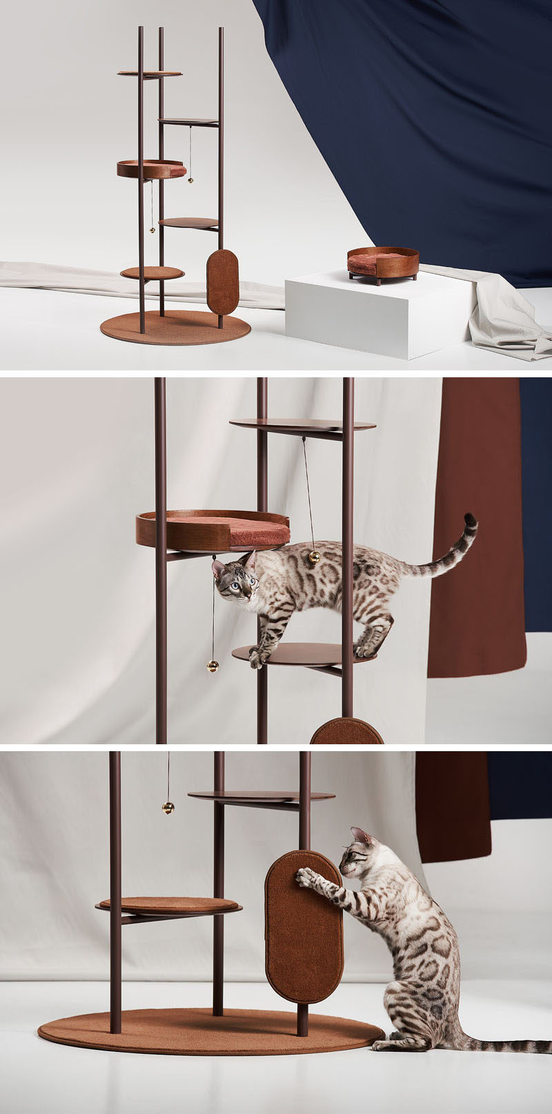 Jiyoun Kim Studio presents the 'Three Poles Collection', a modern cat tower that has multiple places for cats to play or relax. #CatTower #Cats #PetFurniture