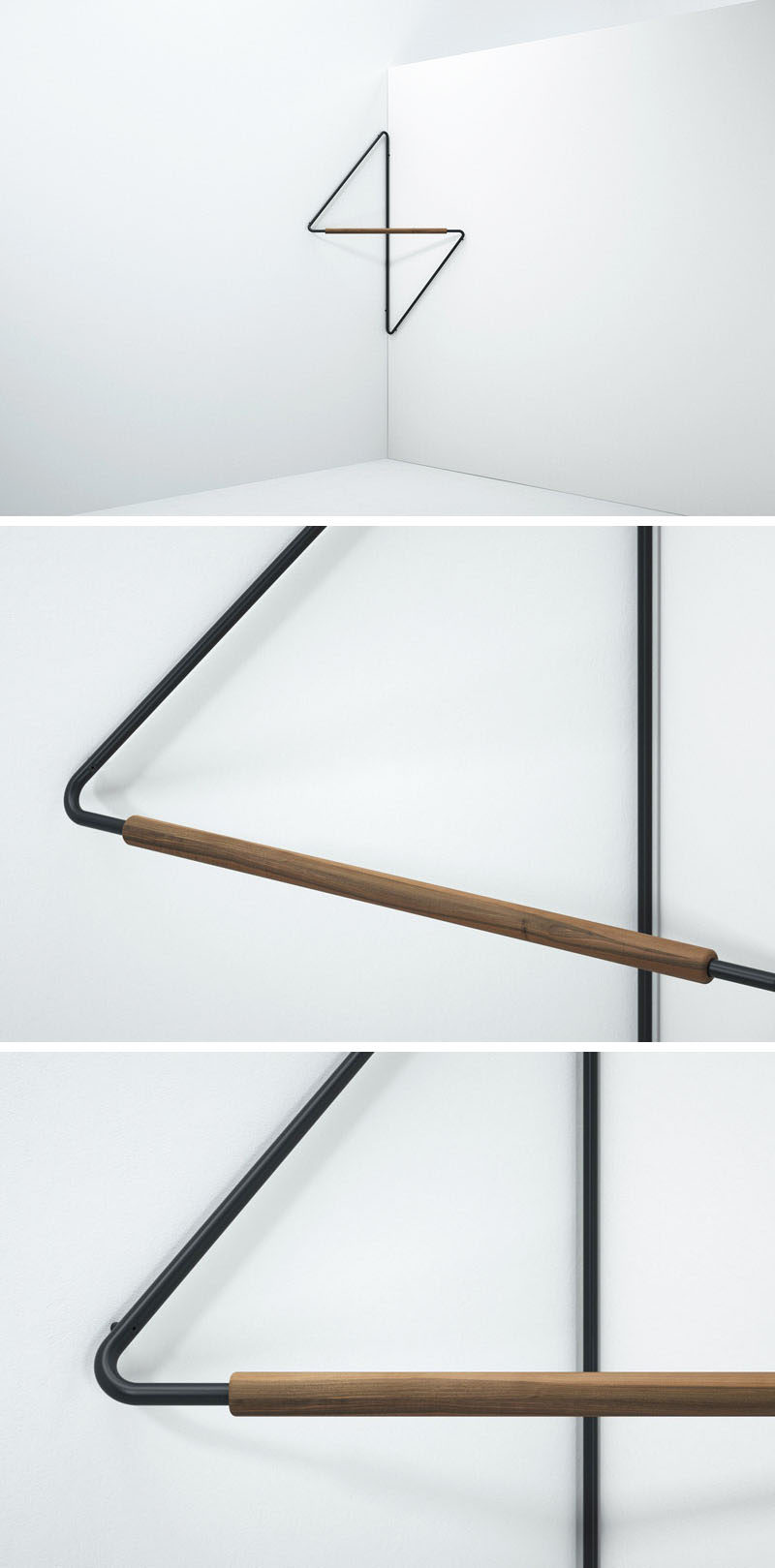Ugao is a minimalist clothes rack that's been designed to save space and neatly fit into the corner of a room. #ClothesRack #ClothesHanger #Design