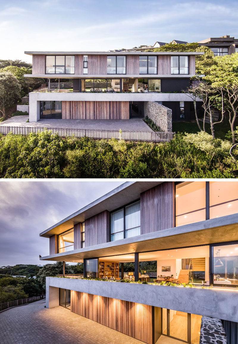 Bloc Architects has designed 'The Tree House', a new contemporary house that's surrounded by one of Durban'sfew remaining indigenous coastal forests.#ModernHouse #HouseDesign #ModernArchitecture