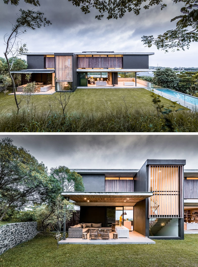 The house seeks to seamlessly blend indoor and outdoor living, and was designed to take advantage of the sub-tropical Durban climate. #ModernOutdoorSpace #ModernBackyard #SwimmingPool #Architecture