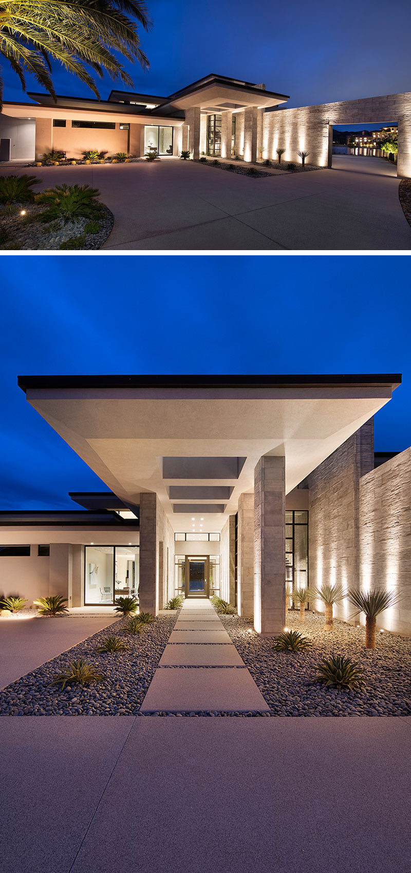 Setback from the road, the modern house has a covered entry with uplighting, and an oversized glass front door. #ModernHouse #Landscaping #Architecture