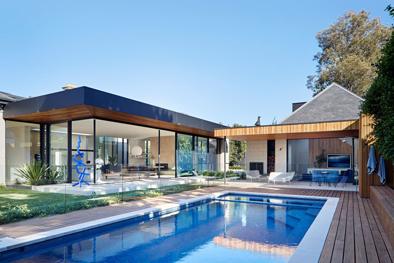 Robson Rak Architecture & Interiors have designed the restoration of a circa 1888 grand Victorian residence in Melbourne, Australia, and added a new wing to the house that's been created in an LA Pavilion style. #Architecture #ModernHouse