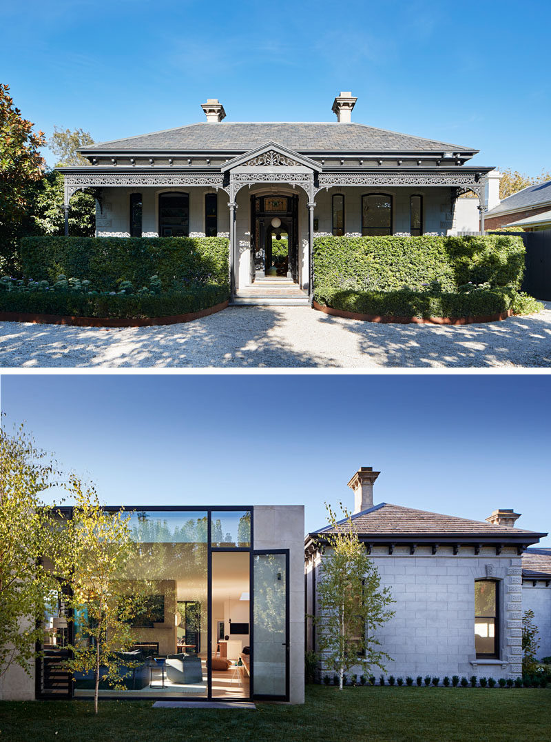 Robson Rak Architecture & Interiors have designed the restoration of a circa 1888 grand Victorian residence in Melbourne, Australia, and added a new wing to the house that's been created in an LA Pavilion style. #Architecture #HouseAddition