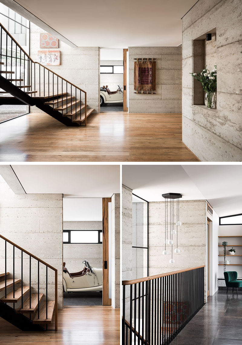 Inside this modern house, materials like rammed recycled concrete and limestone are combined with timber, that provides a softer appearance and adds a level of warmth to the interior. #ModernHouse #RammedConcrete #Stairs