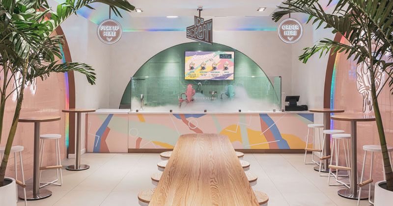 Design firm Asthetíque, has recently completed Ice Scream, a modern nitrogen ice cream parlor in the Bronx, New York, that draws inspiration from the 80's Memphis design movement. #IceCreamParlor #RetailDesign #RetailStore #InteriorDesign