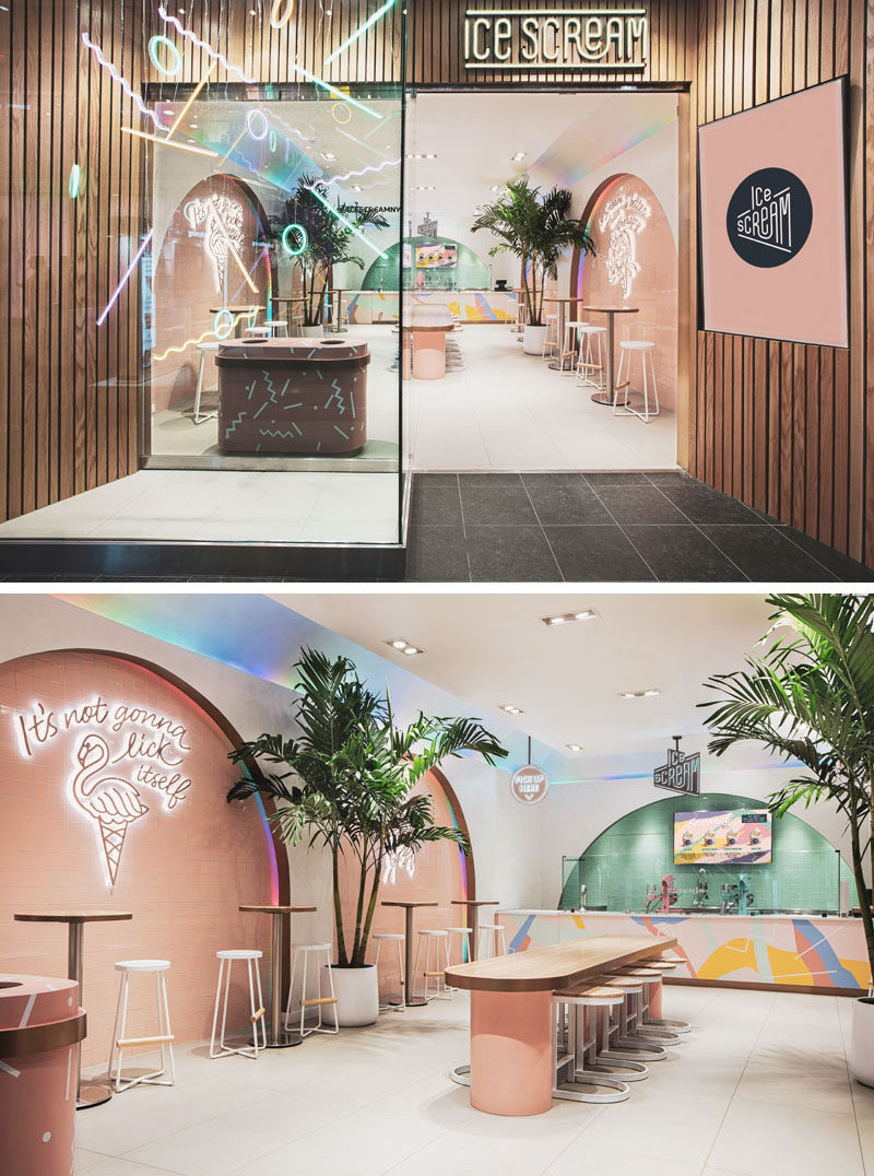 A wood facade with natural with oak planks, and geometric neon shapes float in the storefront, drawing attention to this modern ice cream parlor. #RetailDesign #RetailStore #Interiors #IceCreamParlor