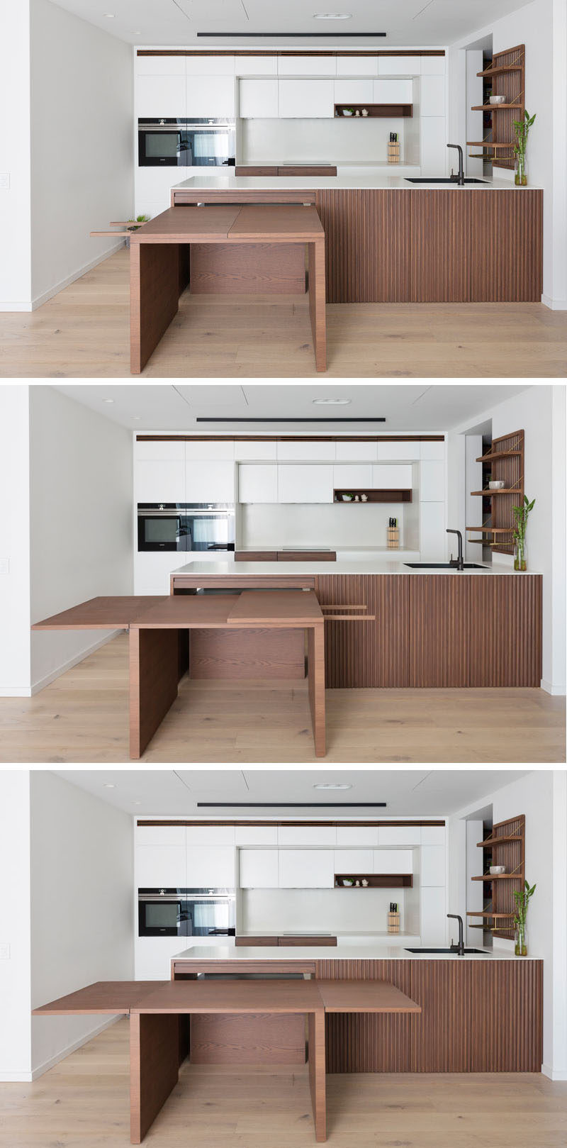 This modern kitchen features custom stained American Oak, corian countertops, and pull-out dining table, which sits flush within the kitchen bench and extends into a large dining table. #ModernKitchen #HiddenDiningTable #BuiltInDiningTable