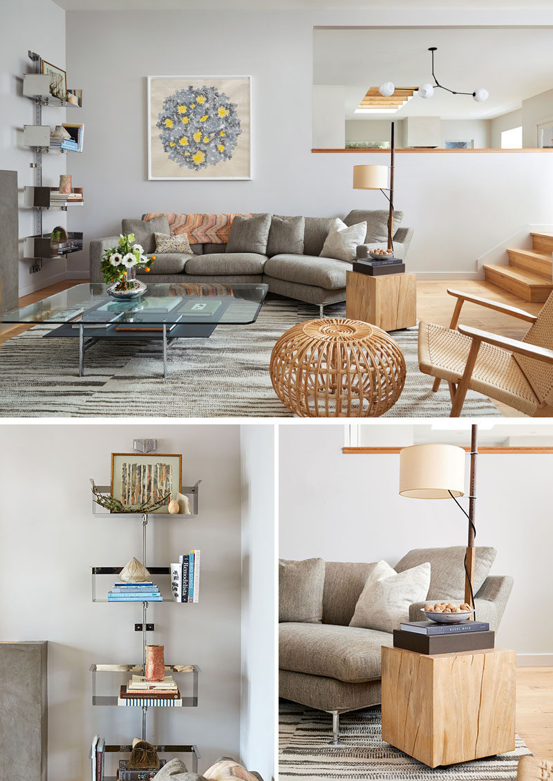 In this contemporary living room, furnishings such as a chrome-based coffee table,wall-mounted shelving, and an architectural lamp add places to display decorative objects. #ModernLivingRoom #LivingRoom #InteriorDesign