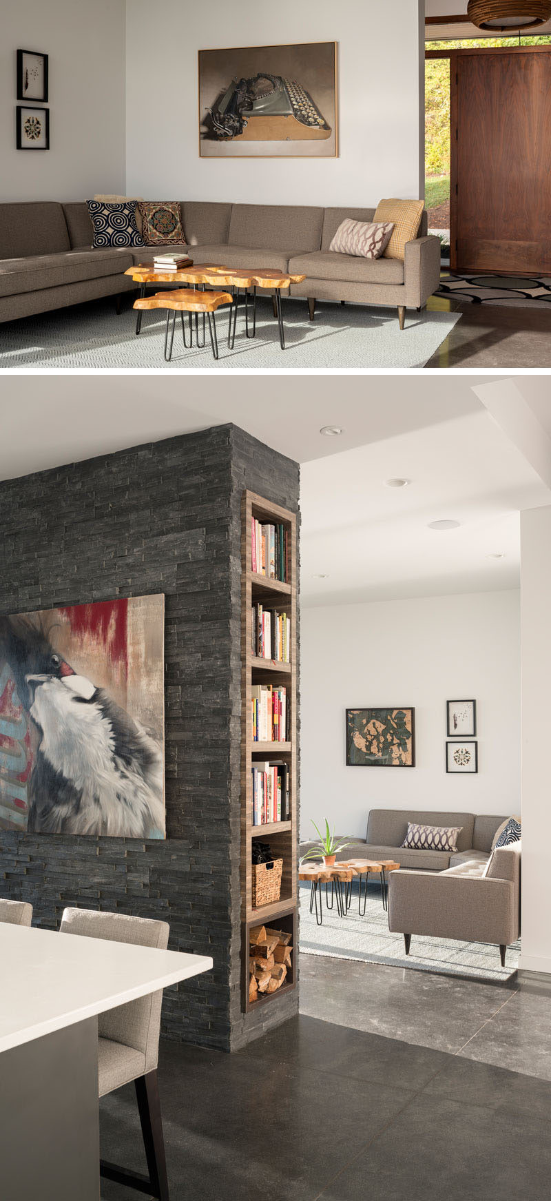 A large wood door welcomes visitors to this modern house, and opens up to the living room, while a stone fireplace with a built-in end bookshelves, separates the living space from the kitchen. #LivingRoom #FrontDoor #Shelving
