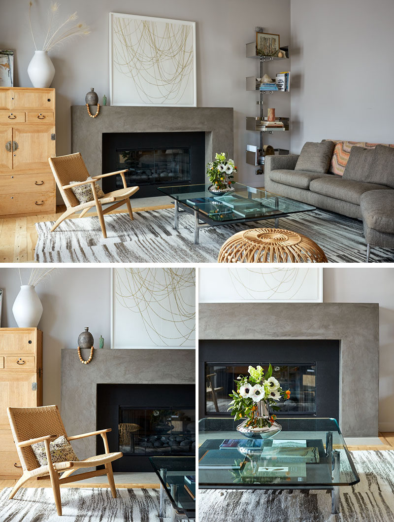In this contemporary living room, furnishings such as a chrome-based coffee table,wall-mounted shelving add places to display decorative objects. #ModernLivingRoom #LivingRoom #InteriorDesign