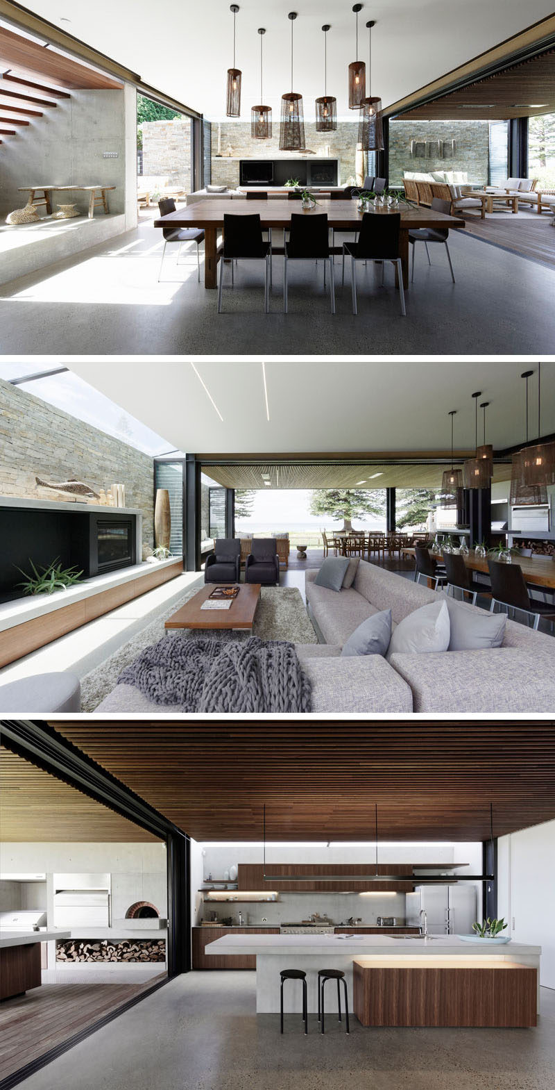 The social areas, like the living room, dining room, and kitchen, of this modern house open to a covered back verandah with views of the ocean. #OpenPlanInterior #LivingRoom #Kitchen #DiningRoom