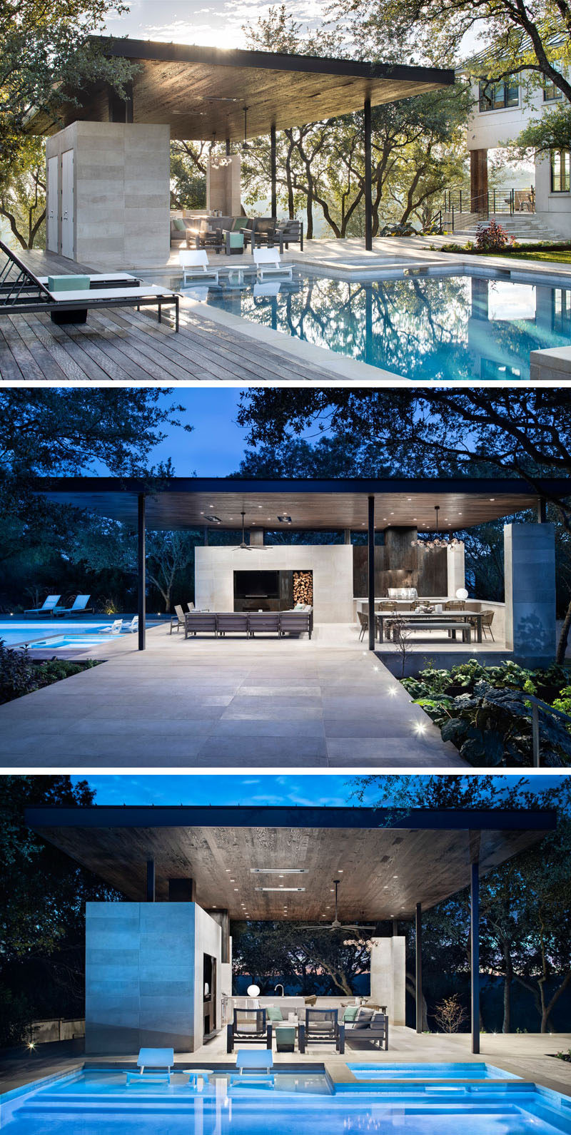 This modern steel, limestone, and wood outdoor pavilion has a living room, an outdoor kitchen with a bbq, and a dining area. #OutdoorLiving #OutdoorSpace #SwimmingPool
