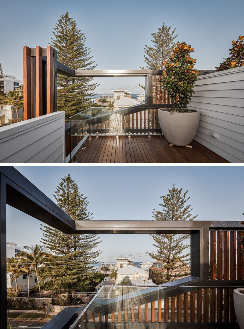 This modern house features a rooftop deck that provides water views over the top of other houses in the neighborhood. #RooftopDeck