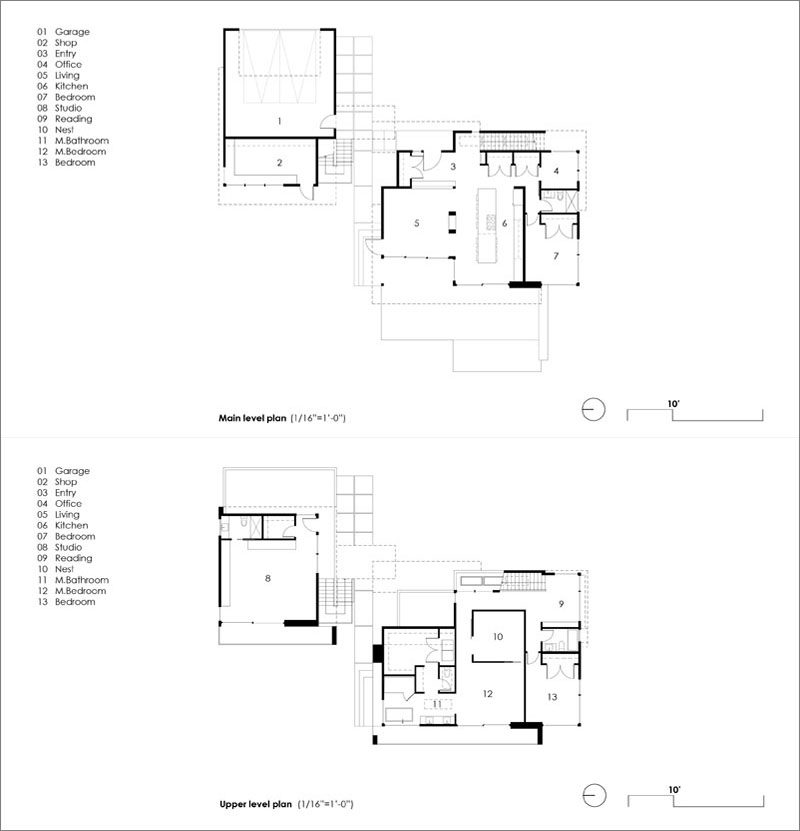 FLOOR PLAN - Stephenson Design Collective has designed 'House On The Cove', a modern house with a separate garage and studio, that's located in Bellingham, Washington State. #FloorPlan #ModernHouse #Architecture #HouseDesign