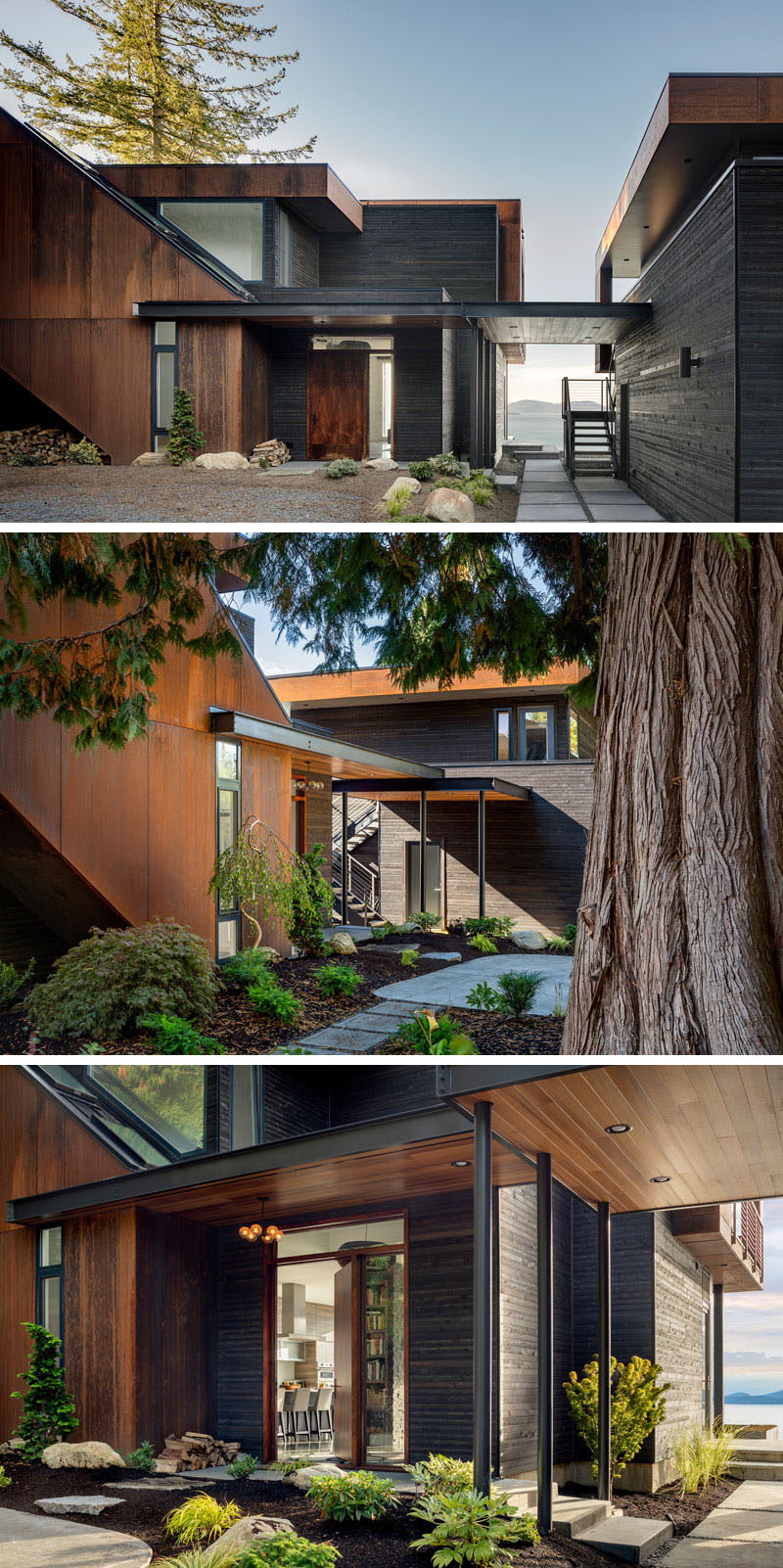 Natural steel (weathered over time) and black stained cedar were chosen to blend this house in with the landscape, placing windows only as needed for light and connection with the neighborhood. #ModernHouse #WeatheredSteel #BlackStainedCedar