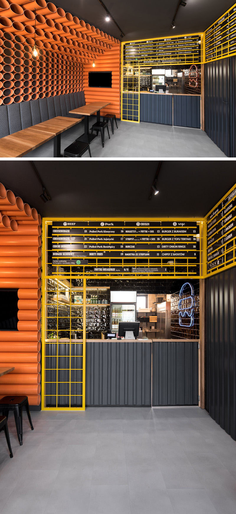 Design elements in this modern restaurant in orange PVC pipes, yellow mesh panels, dark corrugated metal sheet, wood accessories, and black tiles. #InteriorDesign #RestaurantDesign #RestaurantInterior #ModernRestaurant