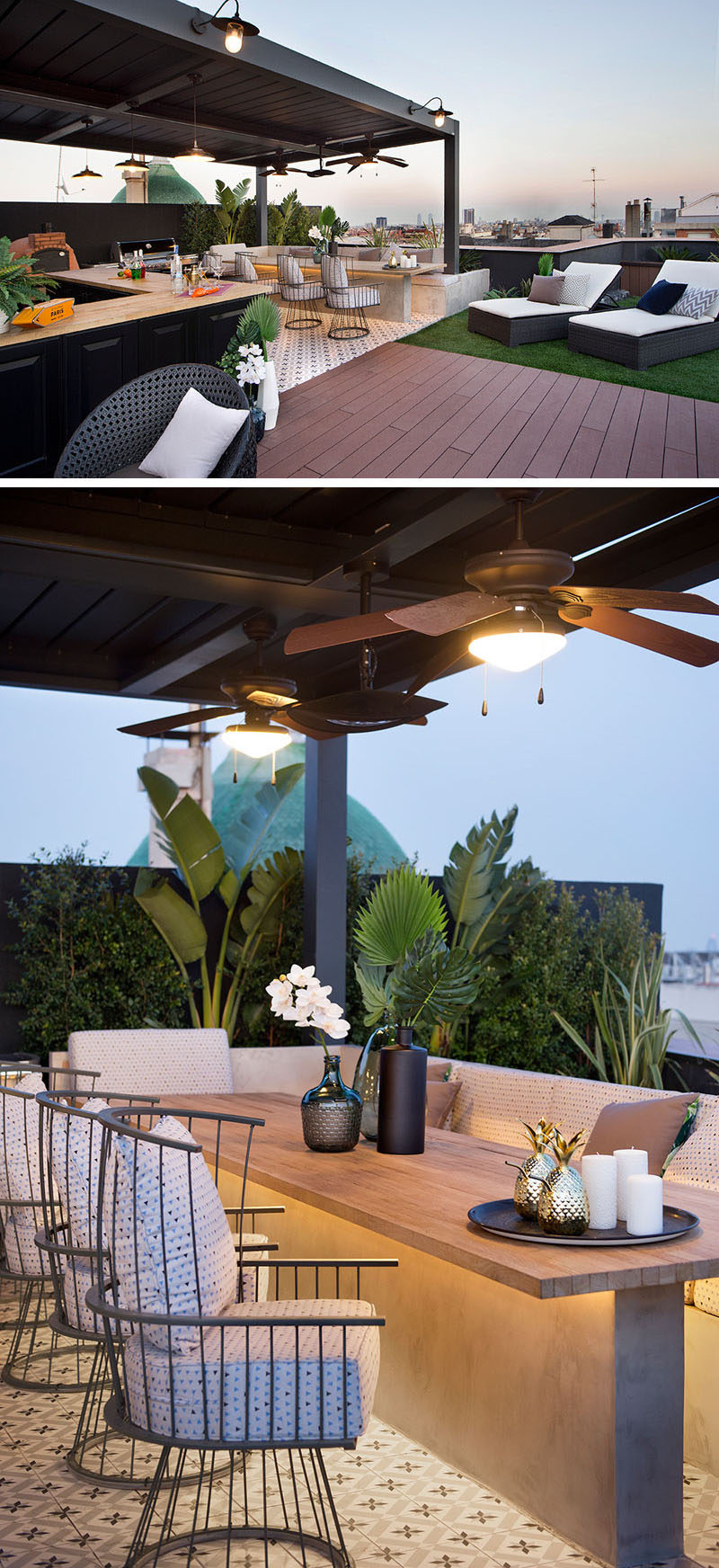 The wood path of this modern rooftop terrace leads to a covered outdoor kitchen / bar with a woodfire oven and bbq, and dining area with banquette seating and views of the city. #RooftopTerrace #OutdoorKitchen #OutdoorDining