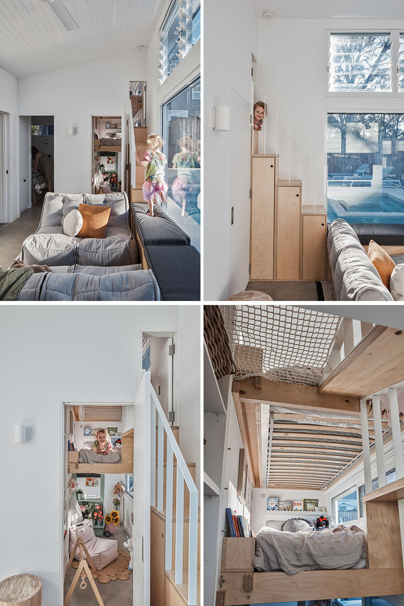Wood stairs with storage connect the living room of this small house with a triple storey bunk bed that houses both kids as well as a play area below. Each bunk also looks out over the pool. #SmallHouse #BackyardCottage #GrannyFlat #BunkBeds #TripleBunkBed #WoodStairs