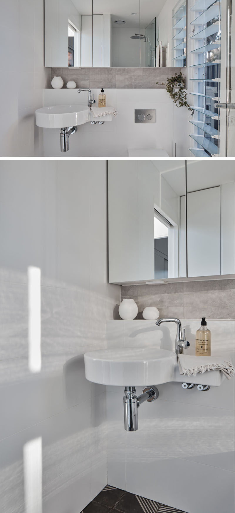 In this small bathroom, a wall-to-wall mirror helps provide storage and make the small space feel larger. A walk-in shower is located on the opposite wall, while louver windows allow for natural air flow. #SmallBathroom #TinyBathroom
