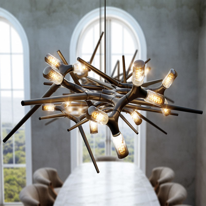 This modern and sculptural lighting design is composed of only two different pieces, allowing it to transform into any size and form in any kind of living space with the addition of more pieces. #Lighting #ModernLighting #LightingDesign #SculpturalLighting