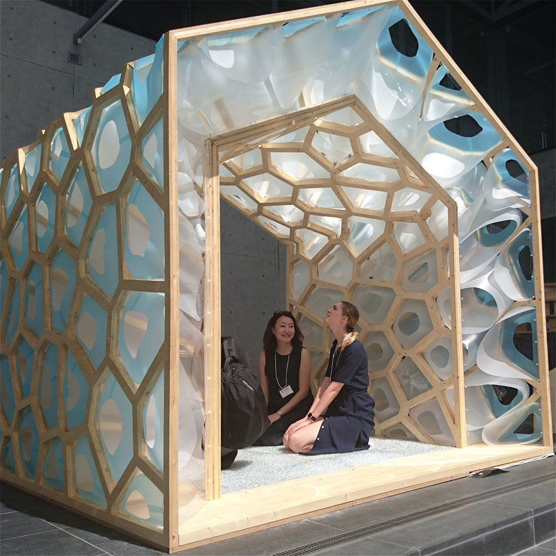 This artistic Japanese Tearoom is made of a hybrid of spruce CLT panels and plastic materials processed using digital fabrication technology. #Pavilion #Design #Architecture