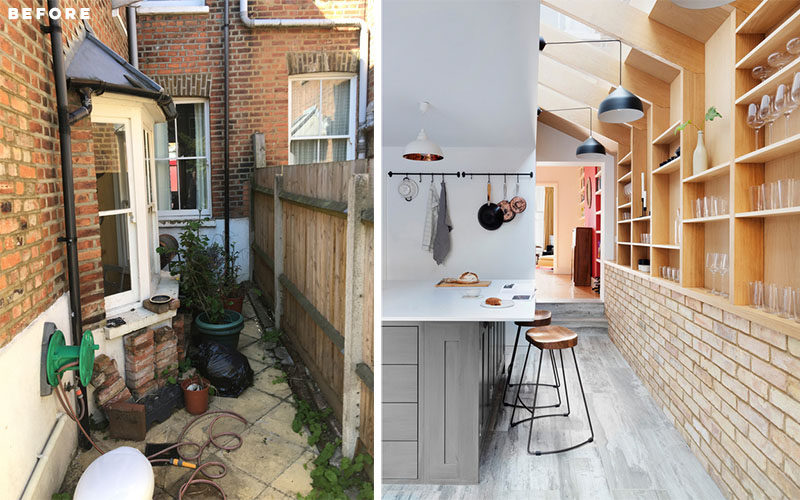 The side extension of this Victorian terrace house was formed by resting structural timber fins, externally clad in zinc, onto the brick party wall. #SideExtension #Architecture #Renovation