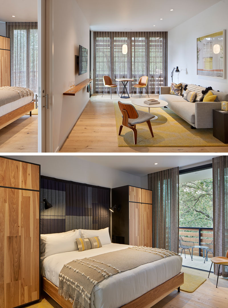 The guest rooms of this modern hotel, each have their own private outdoor space by way of a balcony or patio, while local textiles and art warm up the mix of classic and new furnishings. #ModernHotelRoom #HotelDesign #HotelInterior