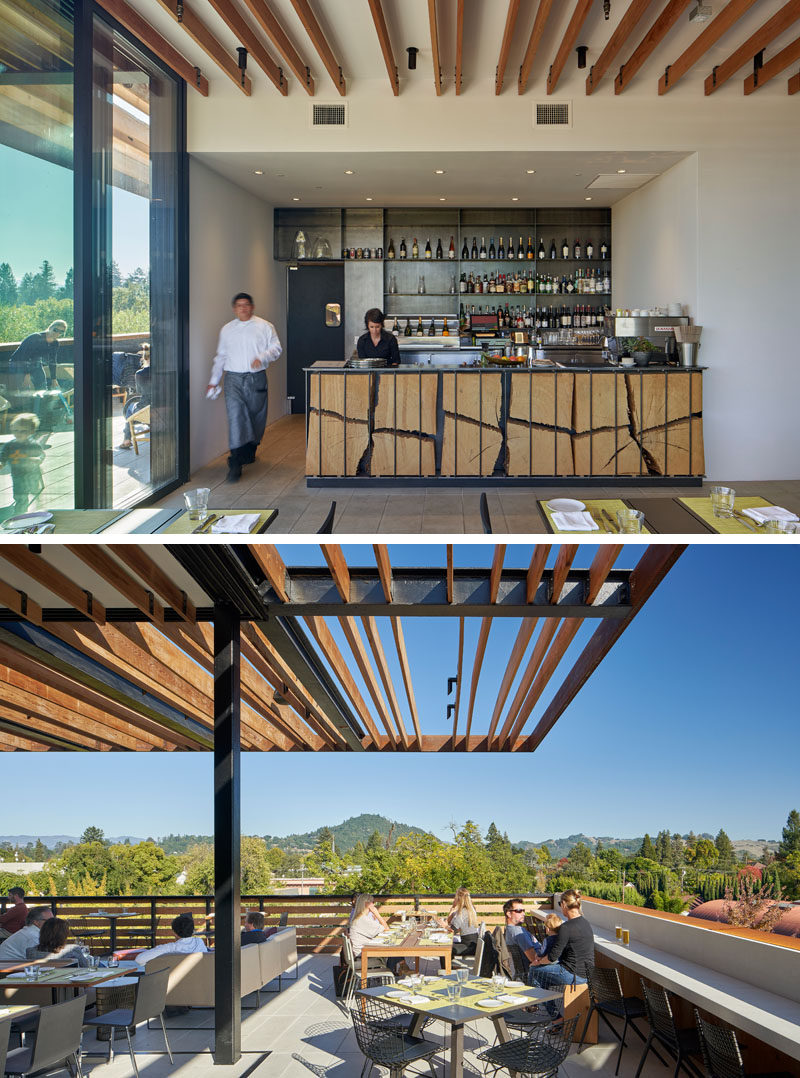This modern hotel's rooftop bar and terrace features mountain views, and a bar with with a fractured eucalyptus wood facade. #RooftopTerrace #RooftopBar