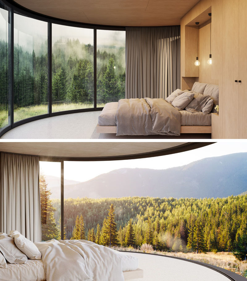 This small and modern cabin is only 183 square feet (17 sqm), and has a bedroom, a small amount of storage, and a bathroom. #ModernCabin #SmallCabin #Bedroom
