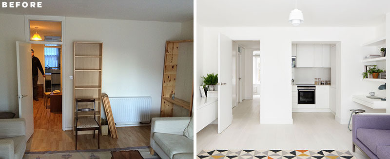 BEFORE & AFTER - Amos Goldreich Architecture has designed the modern renovation of a 2 bedroom flat in Primrose Hill, London, for their clients who wanted to maximize the space as much as possible and make their flat feel larger. #ApartmentRenovation #ApartmentDesign #ModernInteriorDesign