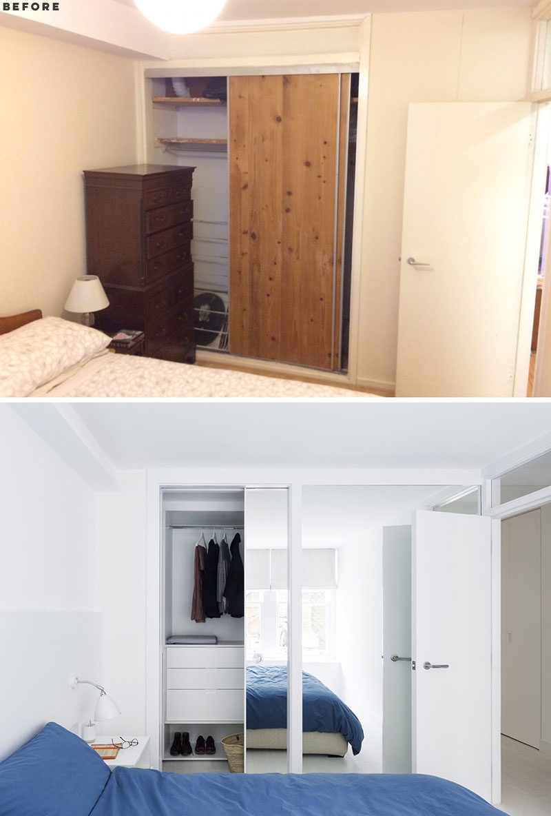 RENOVATION - Storage solutions and joinery items have been added throughout this apartment, including a floating sideboard in the living room, walk-in wardrobes, storage for utilities, and doors with overhead windows to let light into the rooms. #Wardrobe #Storage #Renovation