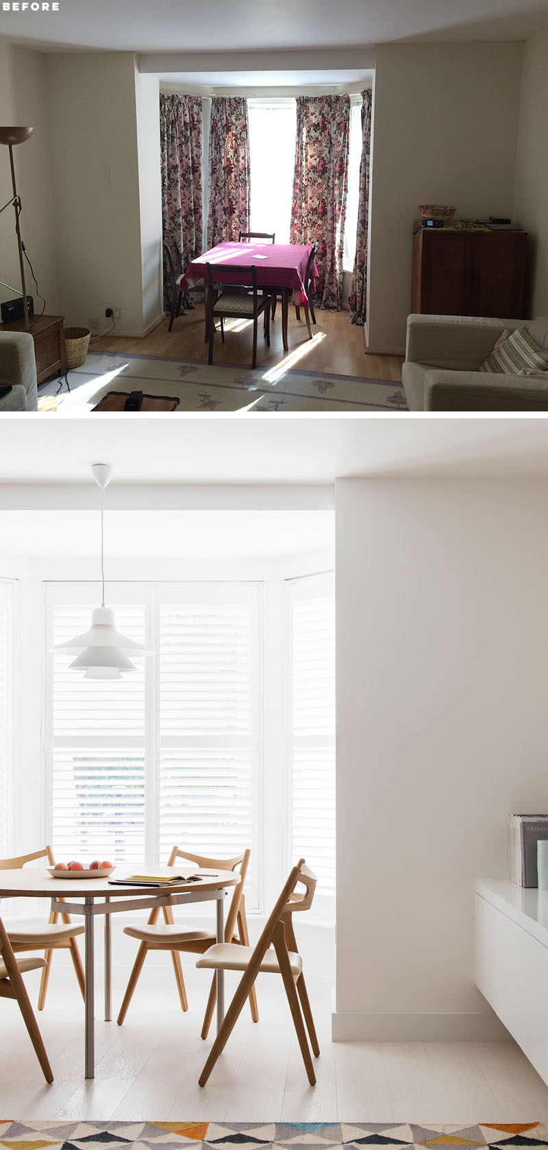 BEFORE & AFTER - Amos Goldreich Architecture has designed the modern renovation of a 2 bedroom flat in Primrose Hill, London, for their clients who wanted to maximize the space as much as possible and make their flat feel larger. #Renovation #ModernRenovation #BayWindow