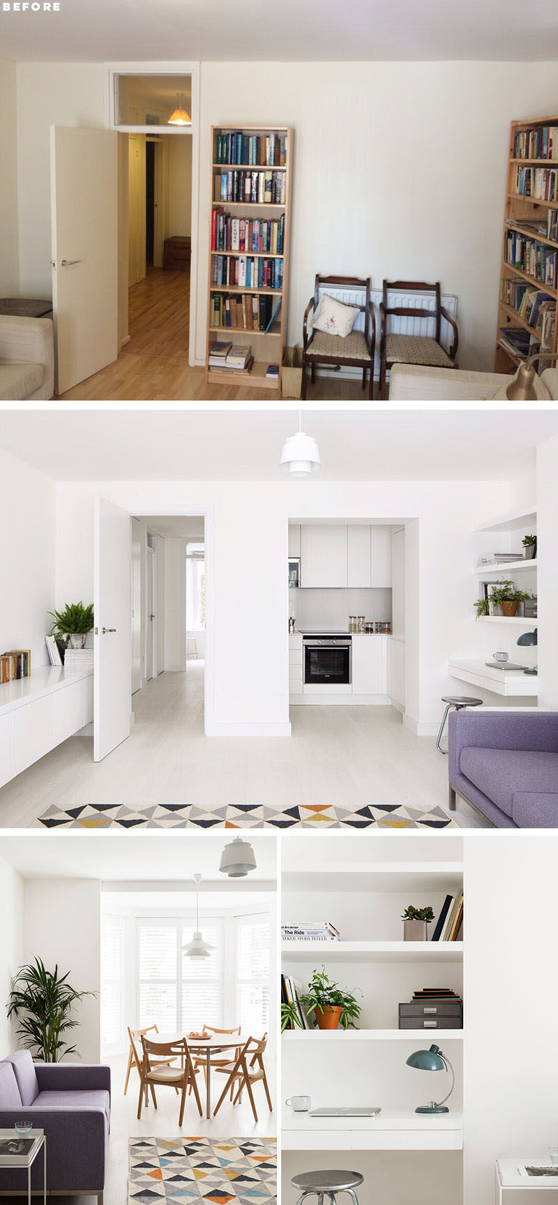 RENOVATION - In order to achieve an open-plan living room and kitchen area, the architects relocated the kitchen to where the bathroom was previously and punched an opening into the structural wall. #ApartmentRenovation #ModernRenovation #InteriorDesign #ApartmentDesign