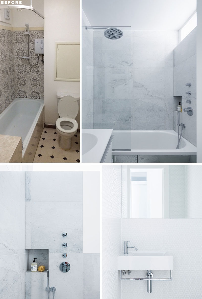 RENOVATION - The updated bathroom has been tiled in white marble, while the guest bathroom is fully tiled in a simple white hexagonal mosaic. #ModernBathroomRenovation #Bathroom