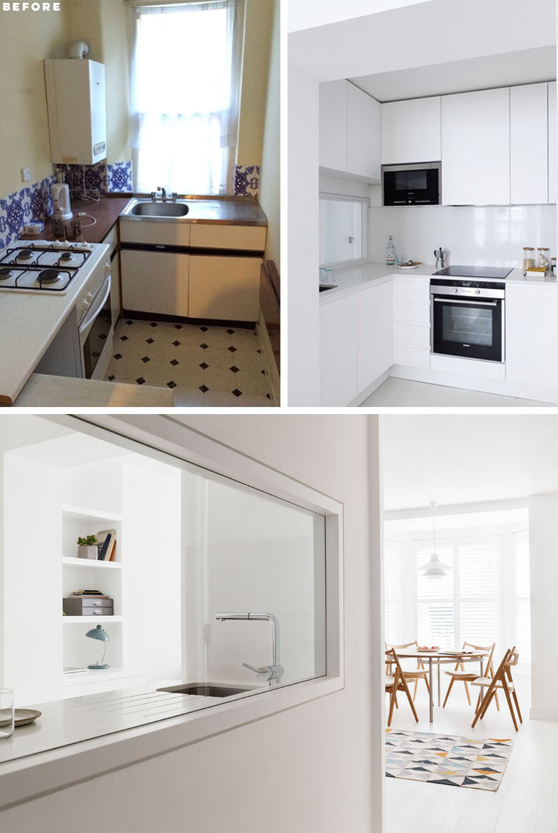 KITCHEN RENOVATION - In the kitchen, the cabinets have been designed to make use of the height of the room, and a window has been added to look out onto the hallway. #KitchenRenovation #SmallKitchen #KitchenDesign #WhiteKitchen