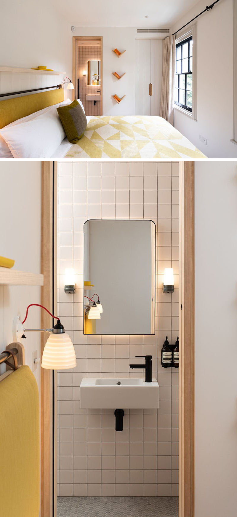 In this modern bedroom, yellow has been chosen as the accent color, while in the ensuite bathroom, square tiles cover the wall, and hidden lighting highlights the shape of the mirror. #ModernBedroom #ModernBathroom